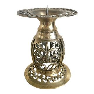Ornate Brass Pillar Candle Holder