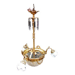 Bronze & Crystal Basket Pendant Light