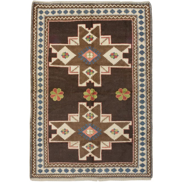 "Antique Shiravan Brown Wool Rug - 5'11"" X 8'4"" - Image 1 of 2"