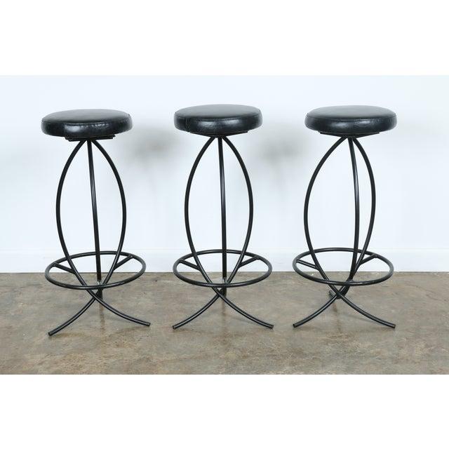 Image of Wrought Iron Leather Seat Bar Stools - Set of 3
