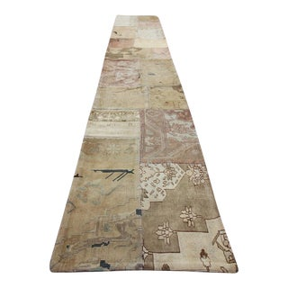 Turkish Vintage Overdyed Patchwork Oushak Rug - 2′2″ × 13′6″