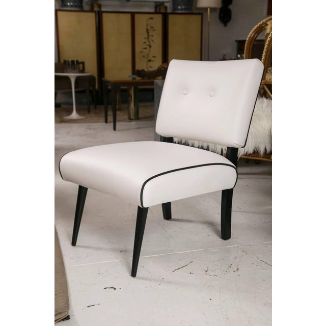 Mid-Century Modern Slipper Lounge Chair in White Vinyl - Image 4 of 9