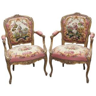 Louis XVI Style Gilt Needlepoint Fauteuils - Pair