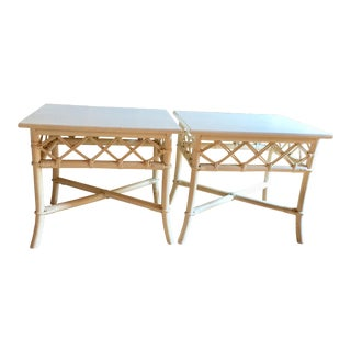 Ficks Reed White Rattan Trellis End Tables - A Pair
