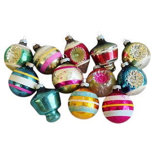 Mid-Centuy 1960s Christmas Ornaments w/ Box - Set of 12