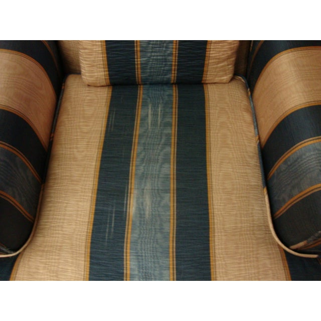 Vintage Moire Satin Armchair and Ottoman - Image 7 of 10