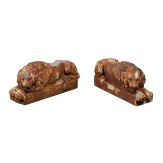 Petite French Patinated Iron Reclining Lions, Turn of the Century - A Pair
