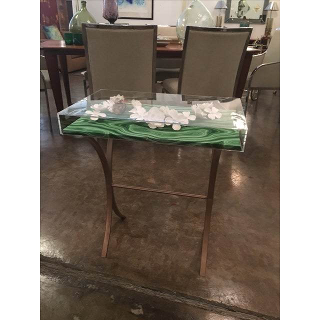 Lucite Object d'art with Rose Tone Metal Side Table by AMK for Patricia Kagan - Image 3 of 11