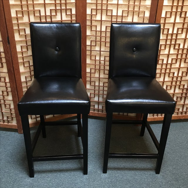 Black Button Back Barstools - a Pair - Image 2 of 9