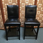 Image of Black Button Back Barstools - a Pair