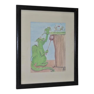 Winged Dragon w/ Fly Swatter Cartoon Lithograph Signed & Numbered