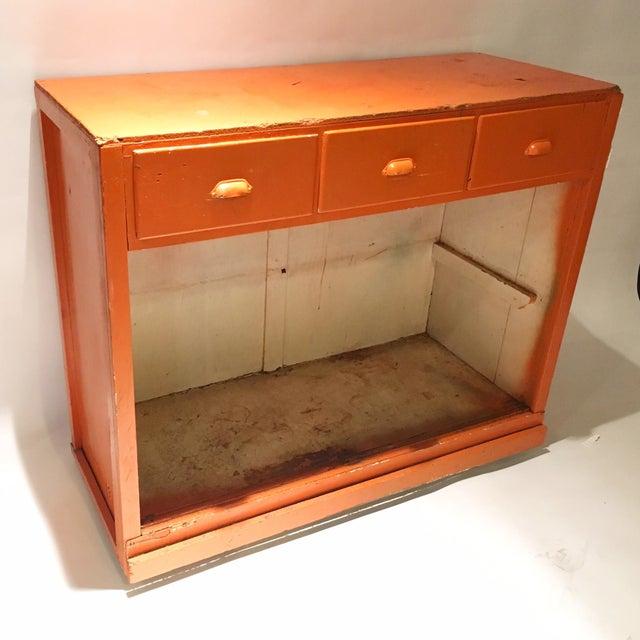 Vintage Orange Rustic Storage Cabinet - Image 4 of 4