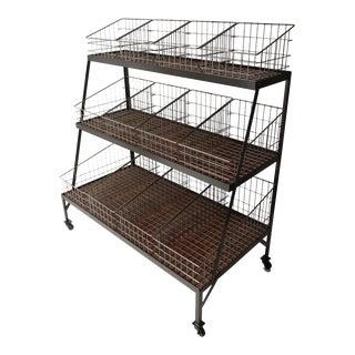 Basket Merchandiser with Wood Shelves