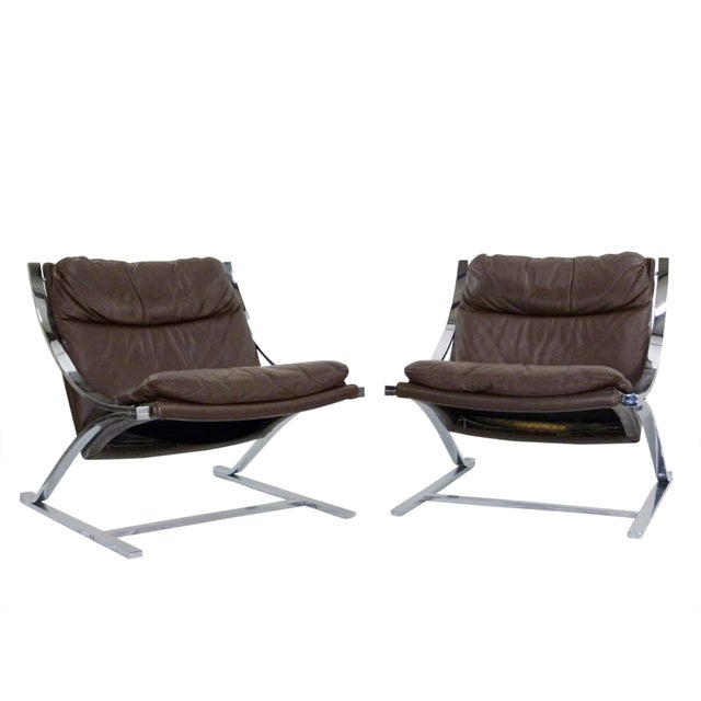 Paul Tuttle 1960s Brown Leather Zeta Chairs - Pair - Image 4 of 10