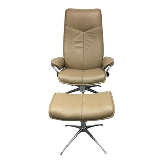 "Stressless ""City"" Reclining Chair & Ottoman Set"