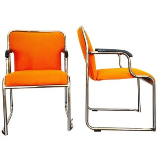 Mid Century Orange & Chrome Side Chairs - Pair