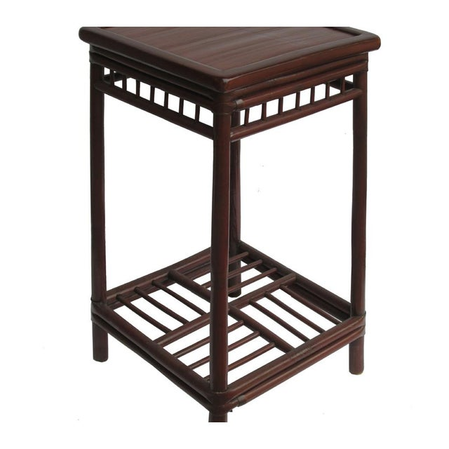 Chinese Handmade Vintage Bamboo Square Side Table Plant Stand - Image 3 of 5