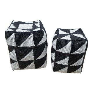 Black and White Beaded Storage Boxes - A Pair