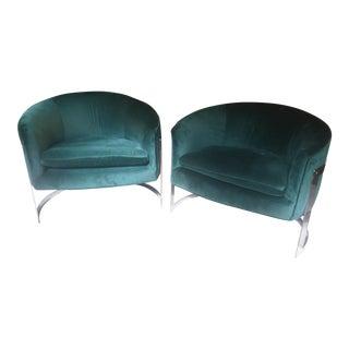 Milo Baughman Barrel Back Chrome Chairs - Set of 2