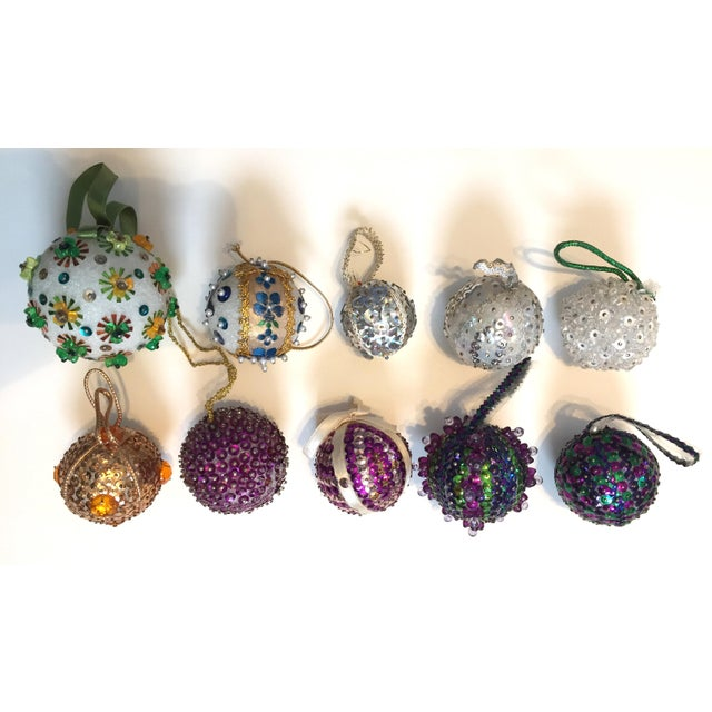 Vintage Beaded Hand Made Christmas Ornaments - Set of 10 - Image 11 of 11