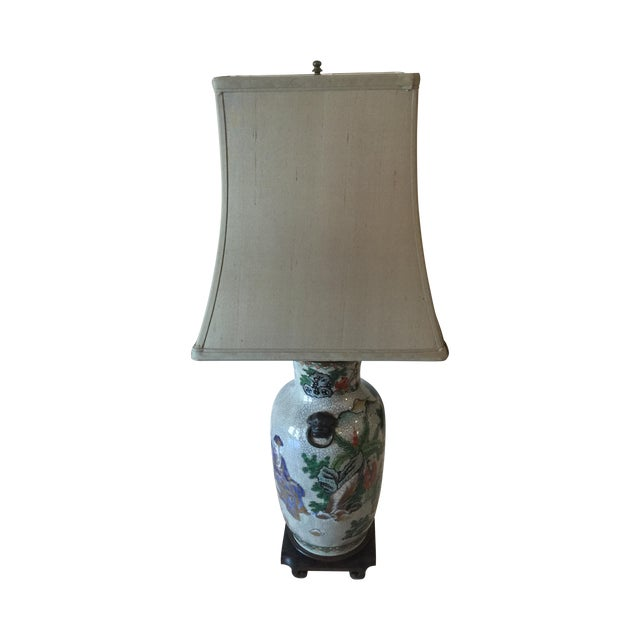 Vintage Asian Table Lamp With Wooden Base - Image 1 of 11