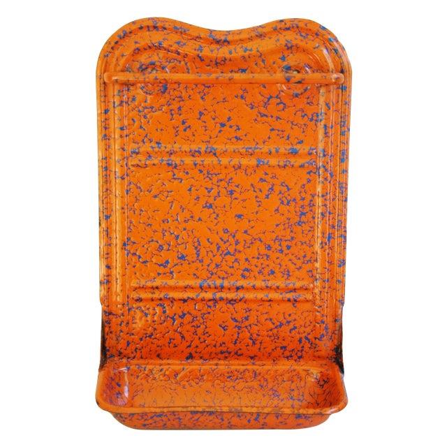 French Marbleized Enameled Utensil & Towel Rack - Image 1 of 7