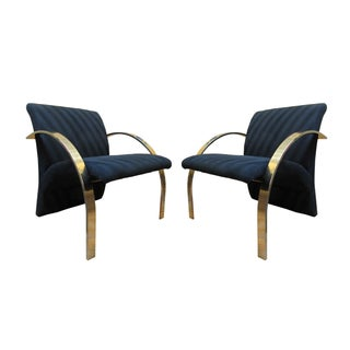 Rare Brass Lounge Chairs by Directional - A Pair