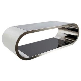 Modern Pia Glass & Silver Steel Coffee Table