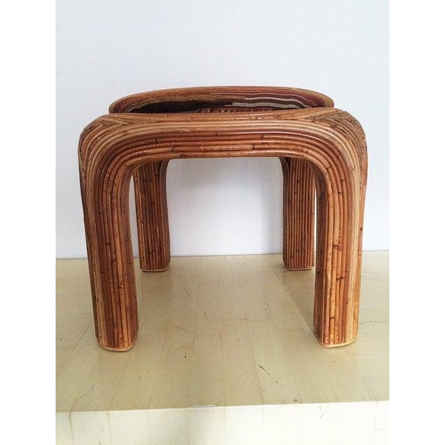 Vintage Boho Upholstered Rattan Ottoman - Image 4 of 7