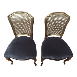 Antique French XVI Caned Dining Chairs - A Pair