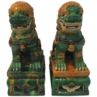Pair of Colorful Porcelain Chinese Foo Dogs
