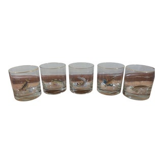 Fish Motif Glass Tumblers - Set of 5
