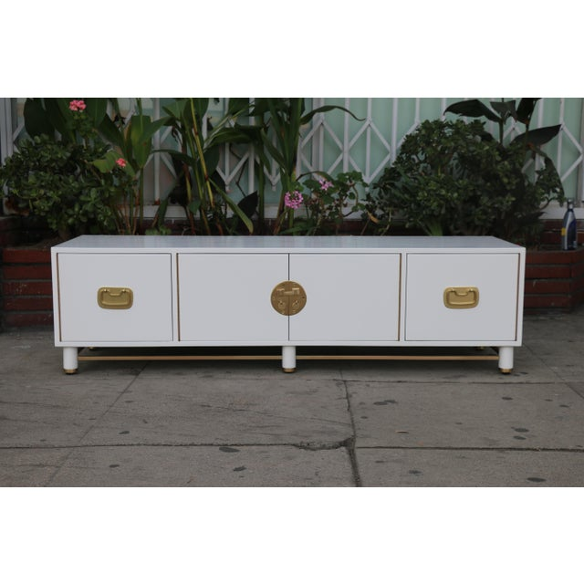 White Mid Century Oriental Low Credenza - Image 10 of 10