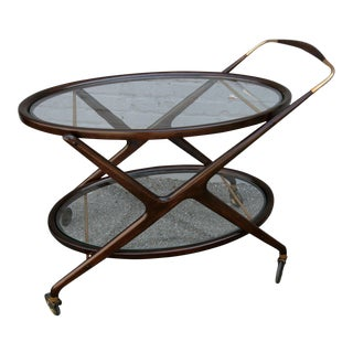 Cesare Lacca 1960s Bar Cart with Glass Shelves and Brass Details