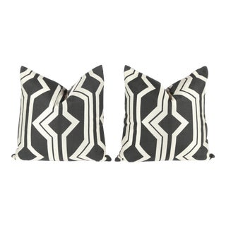 Charcoal Geometric Pattern Pillows - A Pair