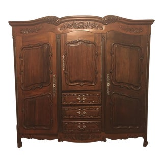 Carved Detail Wood Armoire