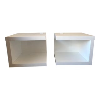 Modani White Lacquer Bedside Tables - A Pair