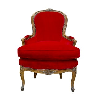 Antique French Louis XV Carved Red Velvet Bergere