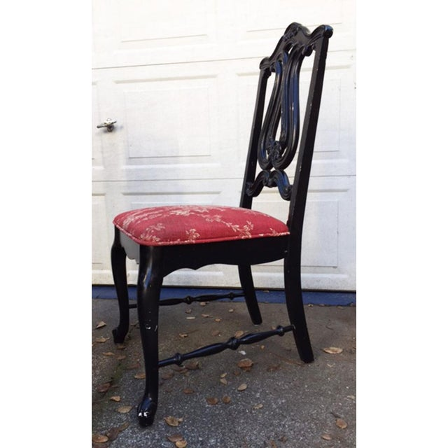 Hollywood Regency Chinoiserie Red Toile Black Louis French Dining Chairs - 6 - Image 7 of 11