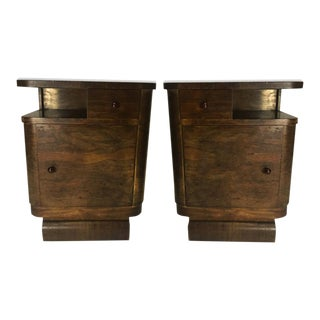 Modern Age Streamline Art Deco Pair of Burl End Table Nightstands