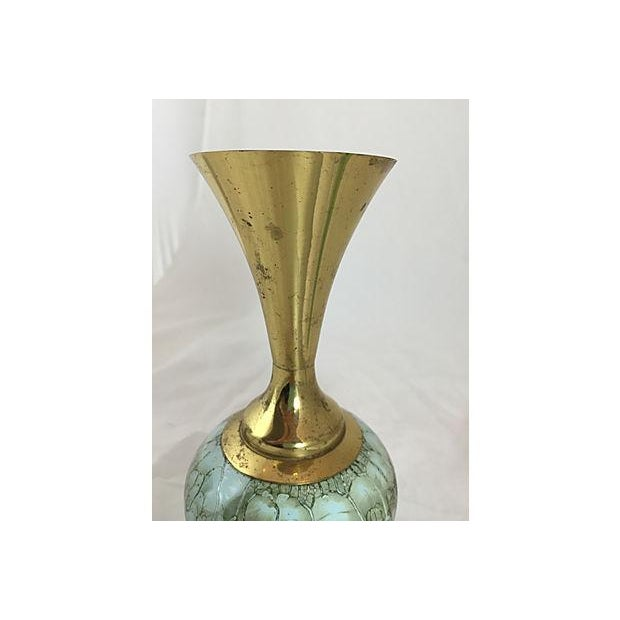 Hand Painted Turquoise Delft & Brass Vase - Image 5 of 5