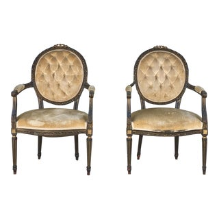 Vintage French Fauteuil Chairs- A Pair