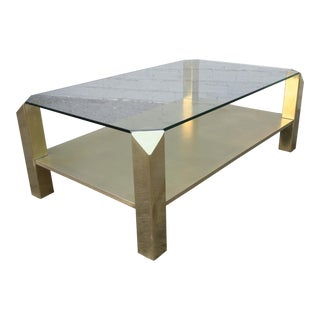 Pair of 1970s Rectangular Brass Coffee Tables with Glass Top