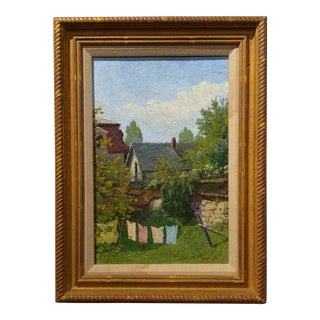 Arthur Clifton Goodwin - Houses in Concord Mass, 1912 - Plein Air Impressionist -Oil Painting oil painting on board