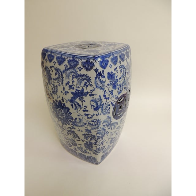 Vintage Blue & White Garden Stool - Image 5 of 7