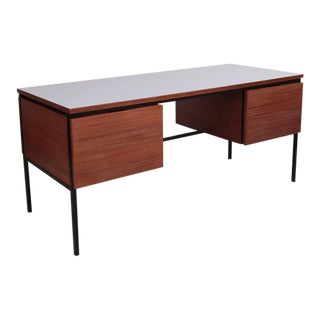 Mahogany Desk with grey formica by Pierre Guariche for Minivelle, France, 1960s