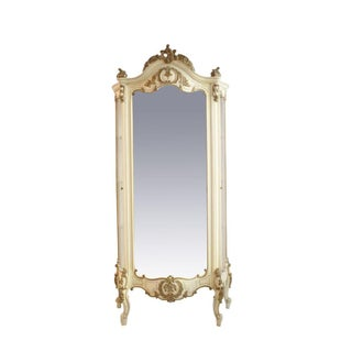 French Mirrored & Cream Painted Curio Cabinet