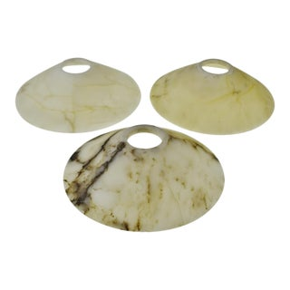 Mid Century Marble Chandelier Shades - Set of 3