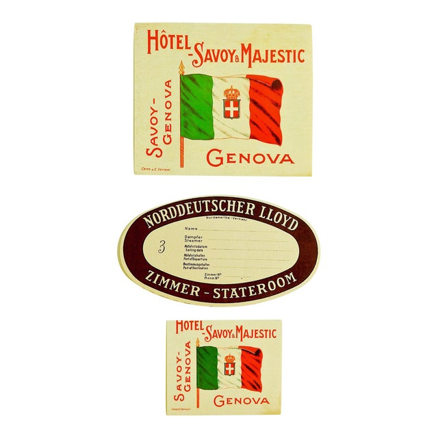 Vintage Hotel Savoy Genova Italy Luggage Tags - Set of 3 - Image 1 of 3
