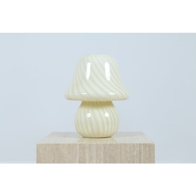 Image of Murano White Mushroom Swirl Table Lamps - A Pair